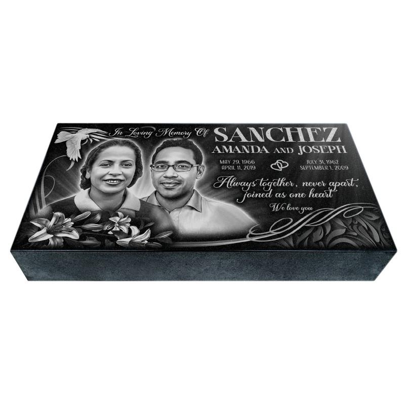 "24x12x4"" Headstone, Single or Companion Flat Grave Marker"